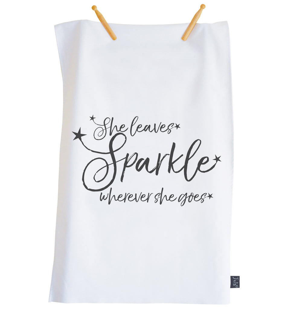 She Leaves Sparkle Tea towel