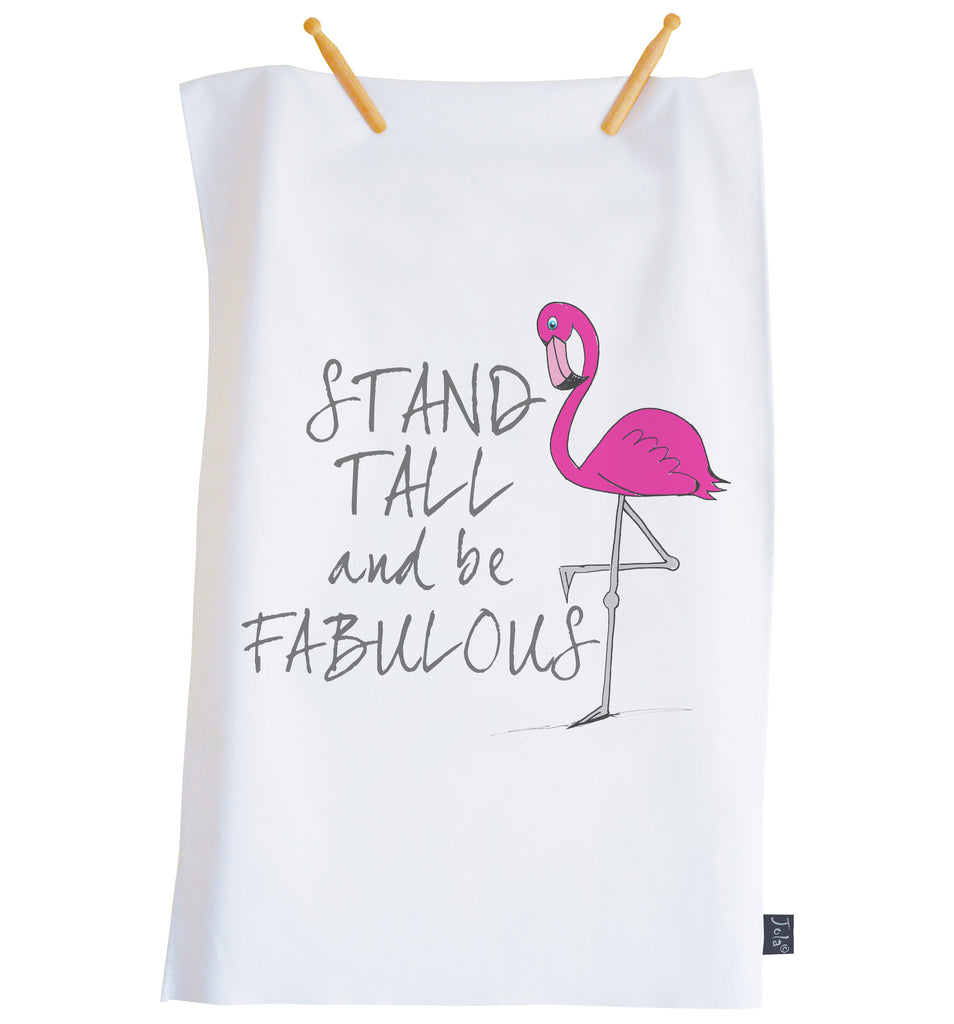 Stand Tall Flamingo Tea towel