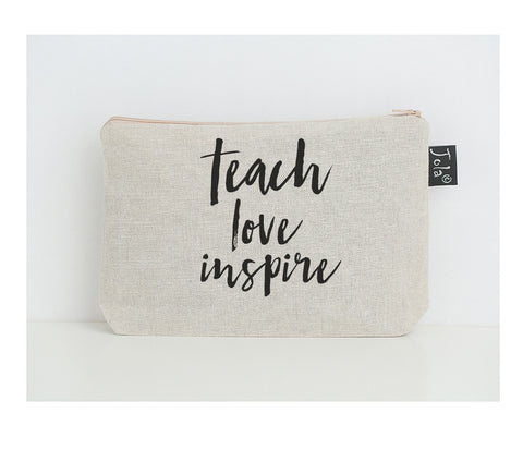 Teach love inspire small make up bag