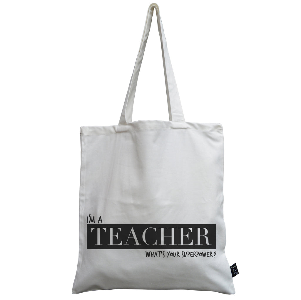 Teacher superpower canvas bag