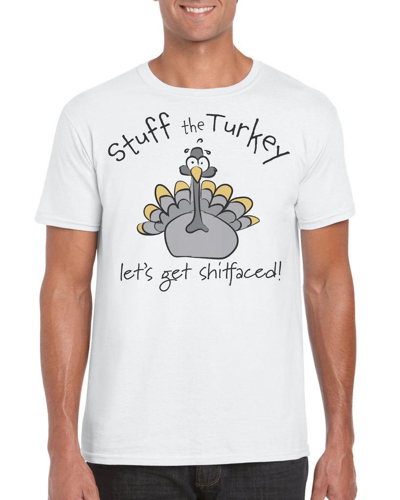 Cotton Men's Christmas Turkey Shitfaced T Shirt
