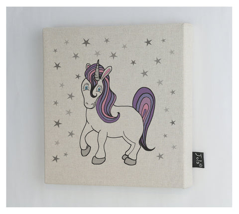 Pastel Unicorn stars canvas frame