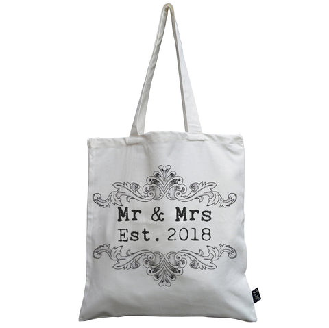 Vintage Mr & Mrs Est 2018 canvas bag