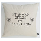 Personalised Wedding Hearts grey cushion