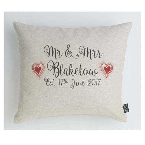 Personalised Wedding Red Hearts cushion