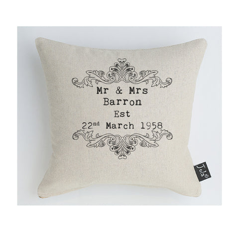 Personalised Vintage Scroll Wedding cushion