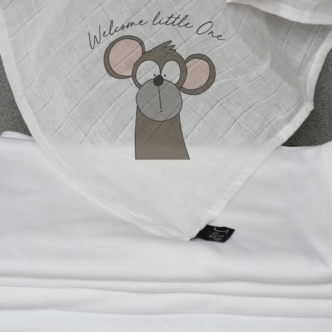 Welcome Little One Cute Jola Animals Muslin