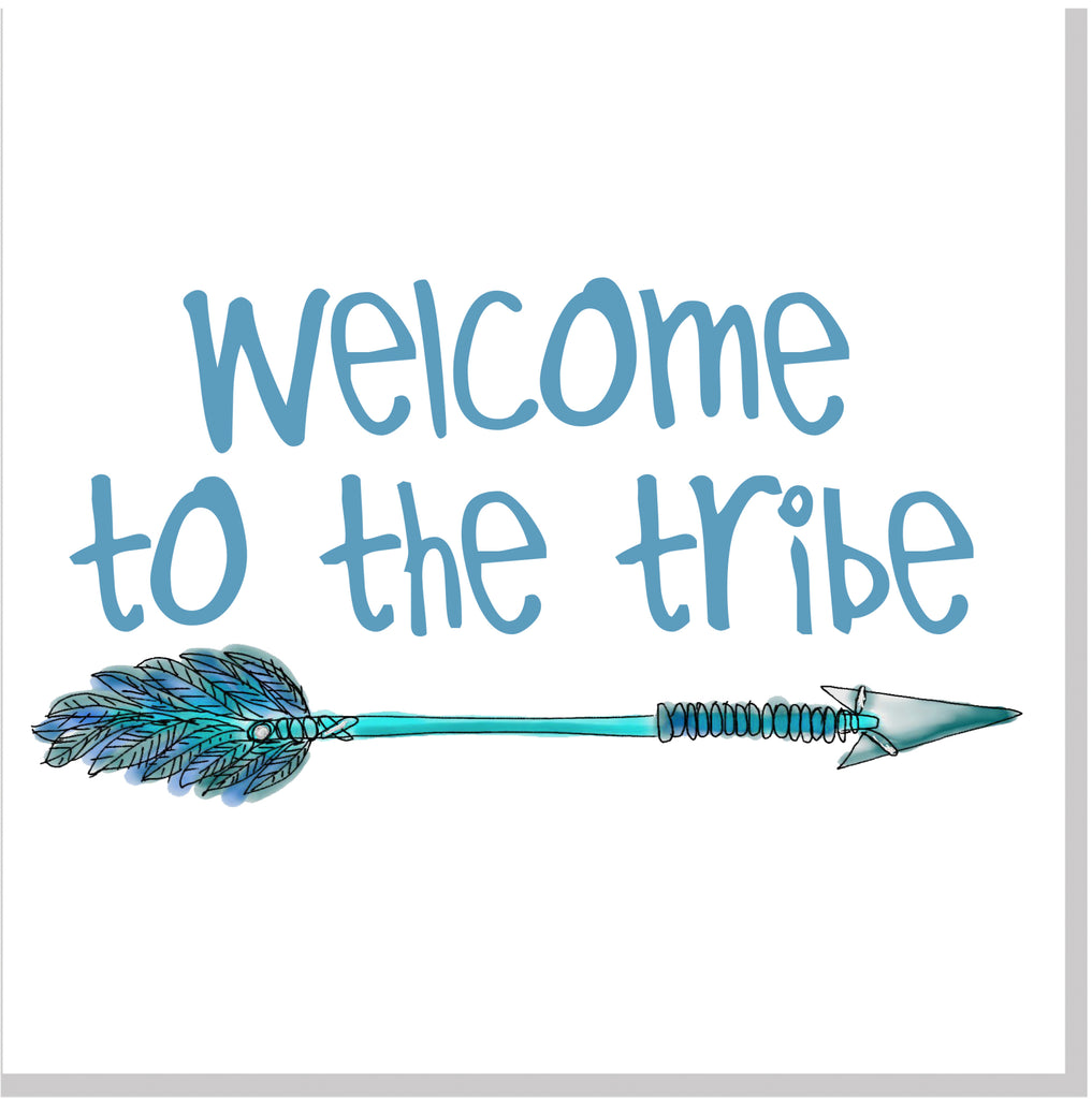 welcome to the tribe blue arrow square card jola designs