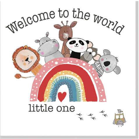 Rainbow Animals Welcome to the world square card