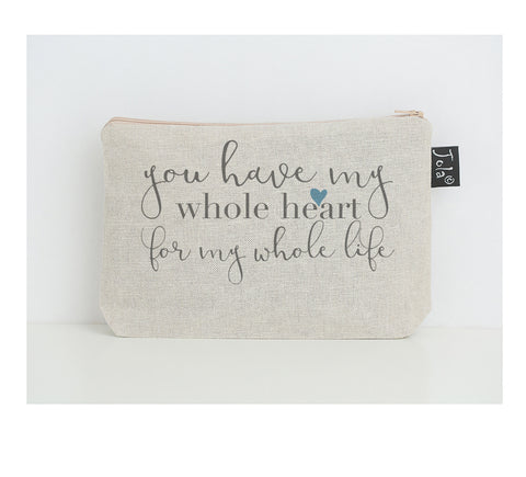 Whole Heart blue small Make up Bag