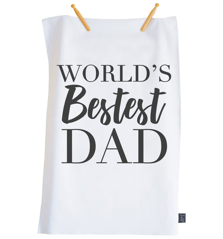 Worlds Bestest Dad tea towel