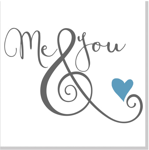 Me & You blue heart square card