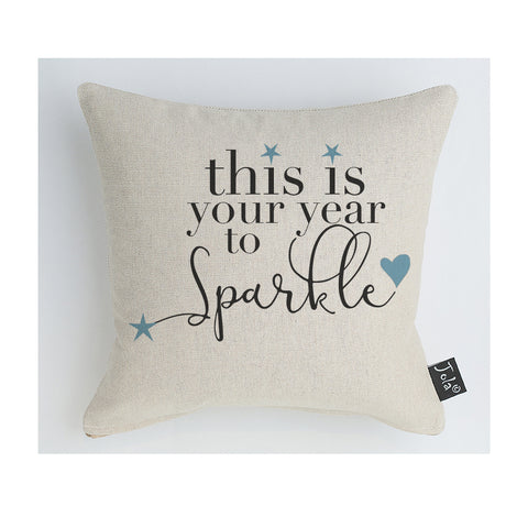 Your year to sparkle Cushion blue hearts