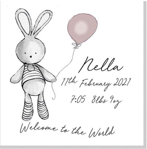 Personalised Welcome Bunny Balloon square card