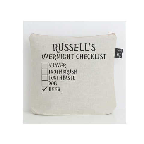 Personalised Checklist Wash bag