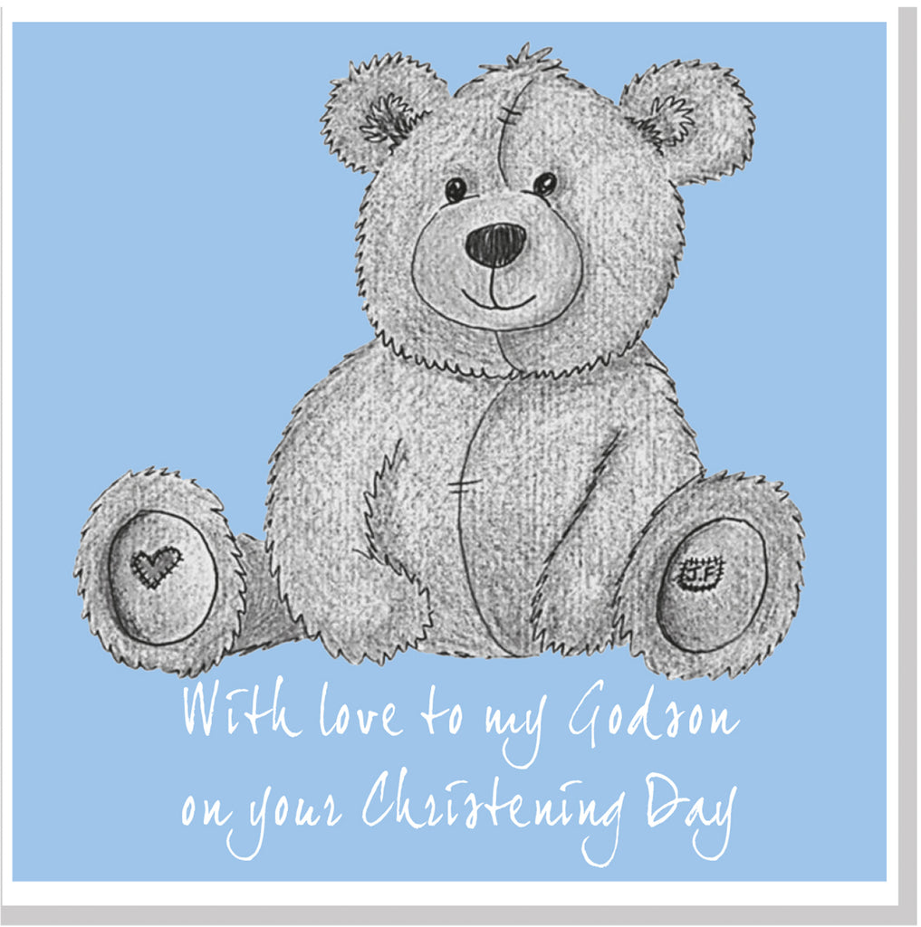 Grey Teddy Christening square card blue