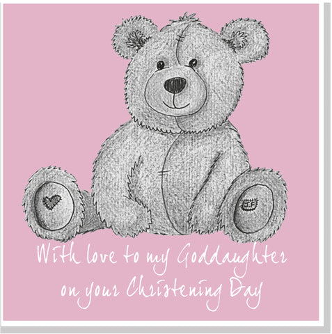 Grey Teddy Christening square card pink