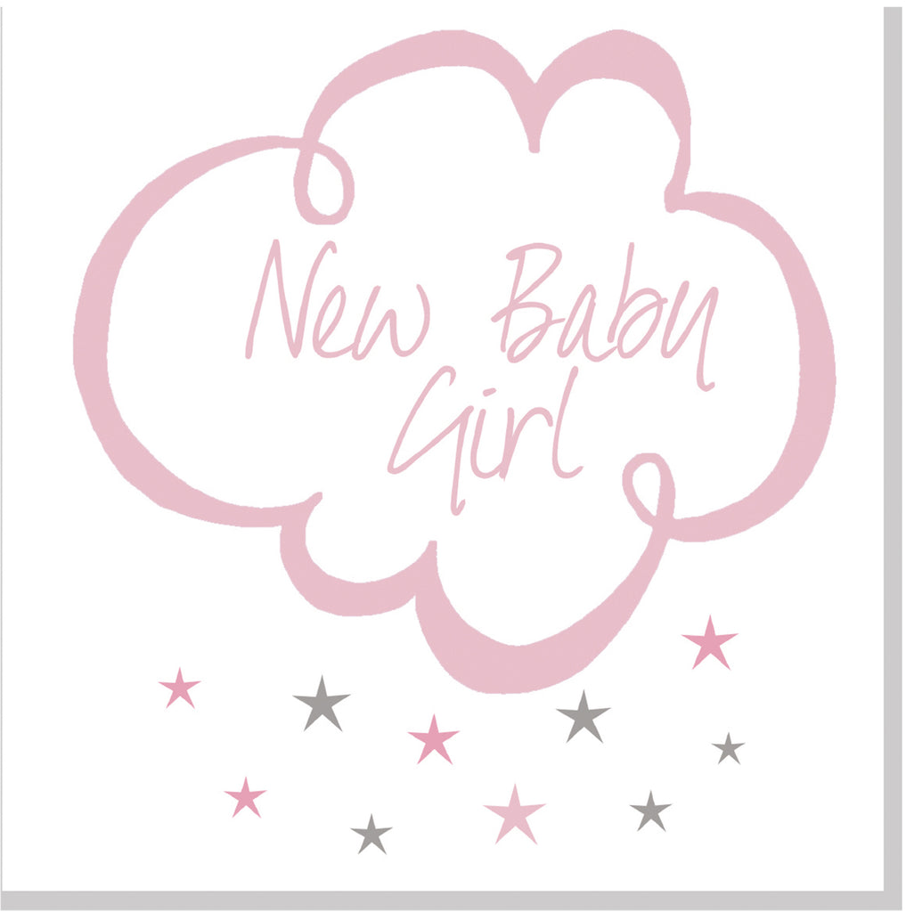 New Baby cloud and stars square card pink