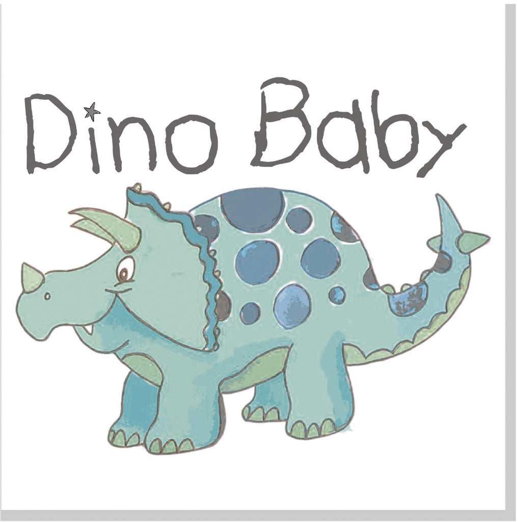 Dino Baby square card green