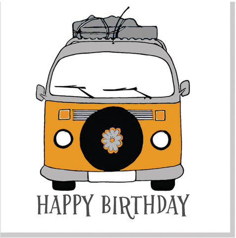 Camper van happy birthday square card