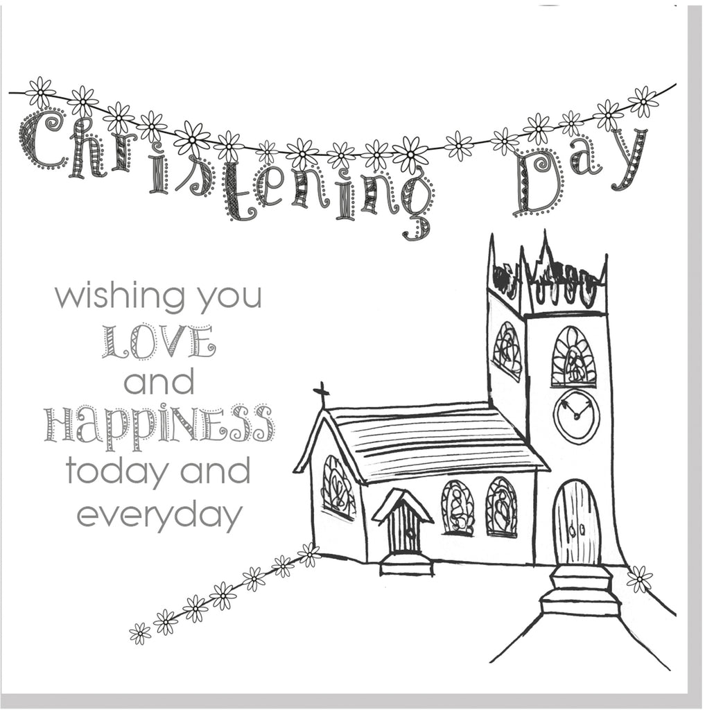 Church and bunting Christening square card grey