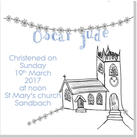 Personalised Church and bunting Christening square card