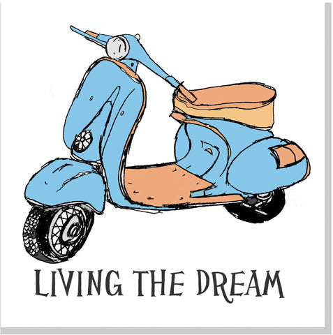 Living the dream retro scooter square card
