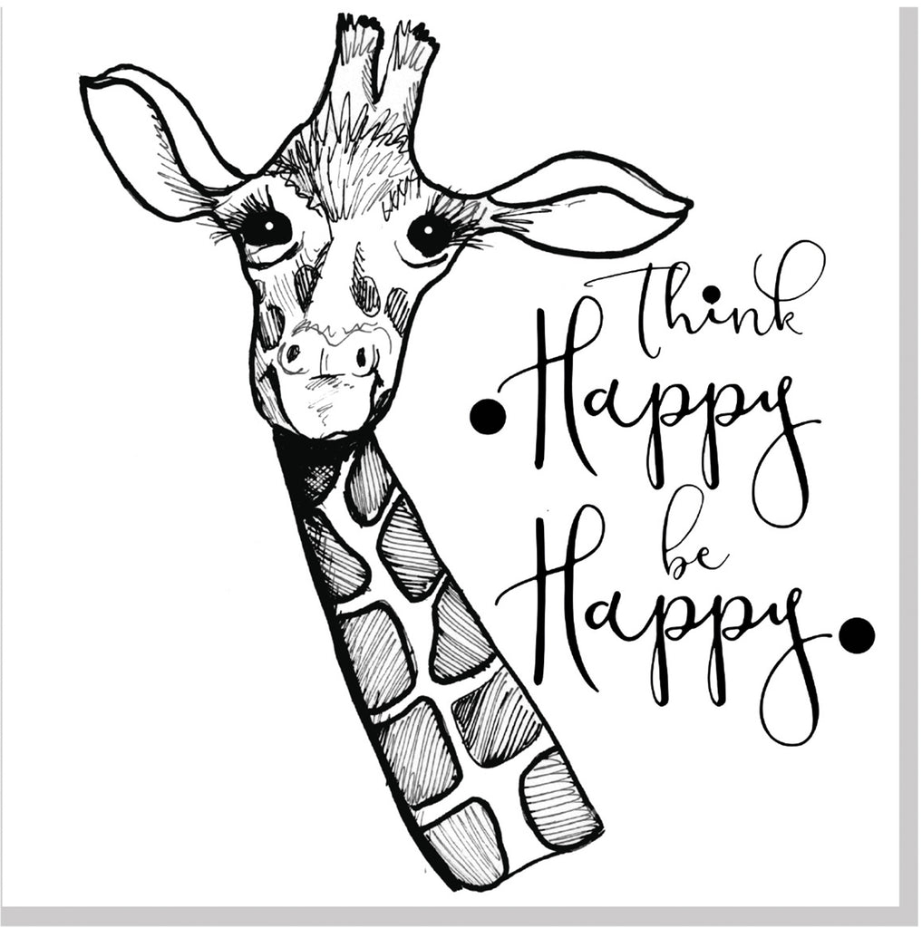 Think happy giraffe square card