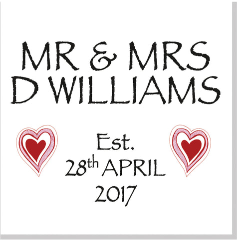 Personalised red hearts Wedding square card