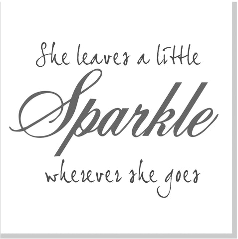 She leaves sparkle square card