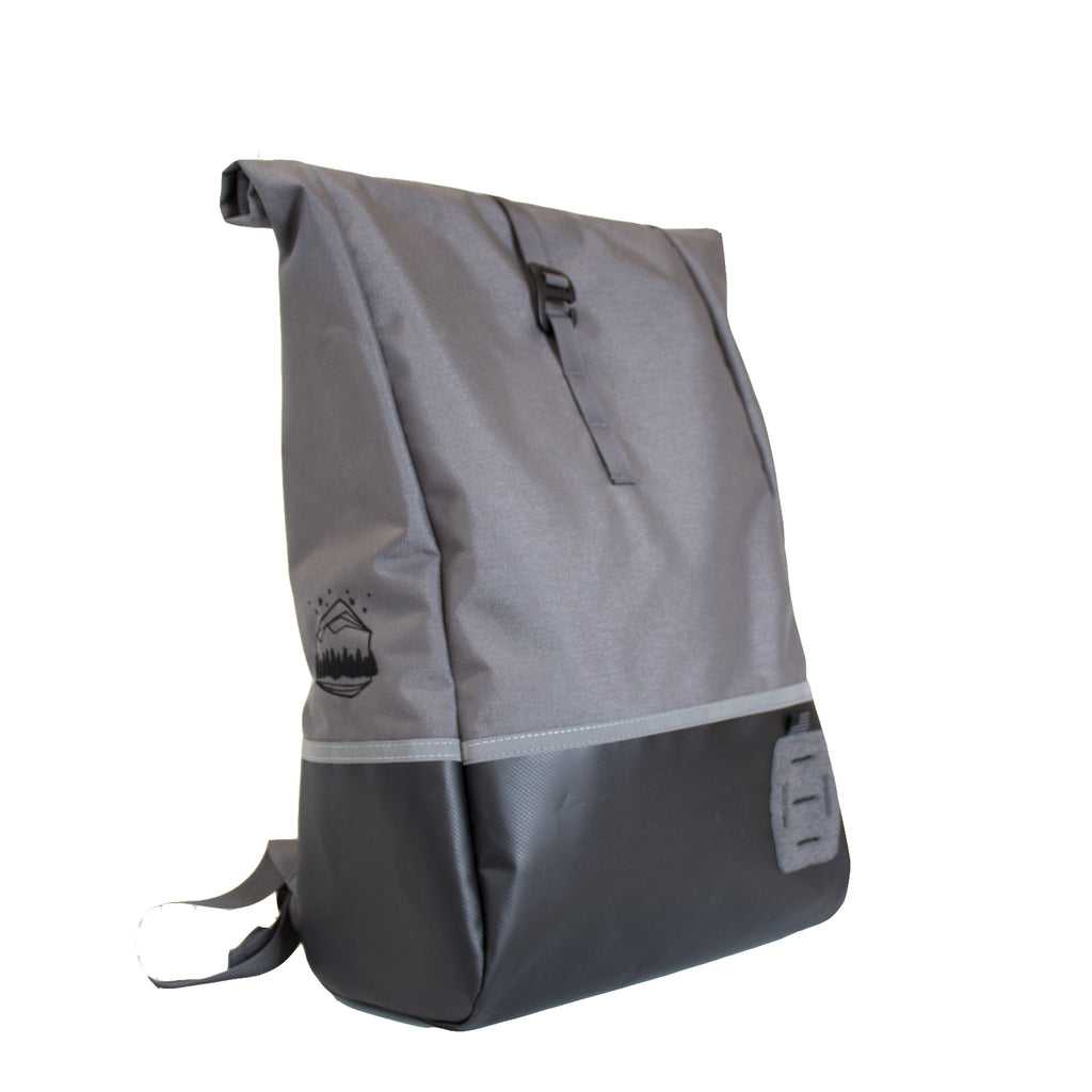 LUSB132 Grey Rolltop Back Pack