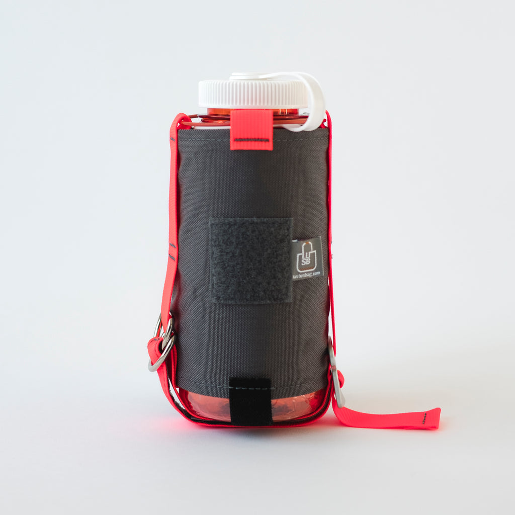 LUSB186 32oz. Orange Nalgene Water Bottle and Grey Carrier with Velcro Patch
