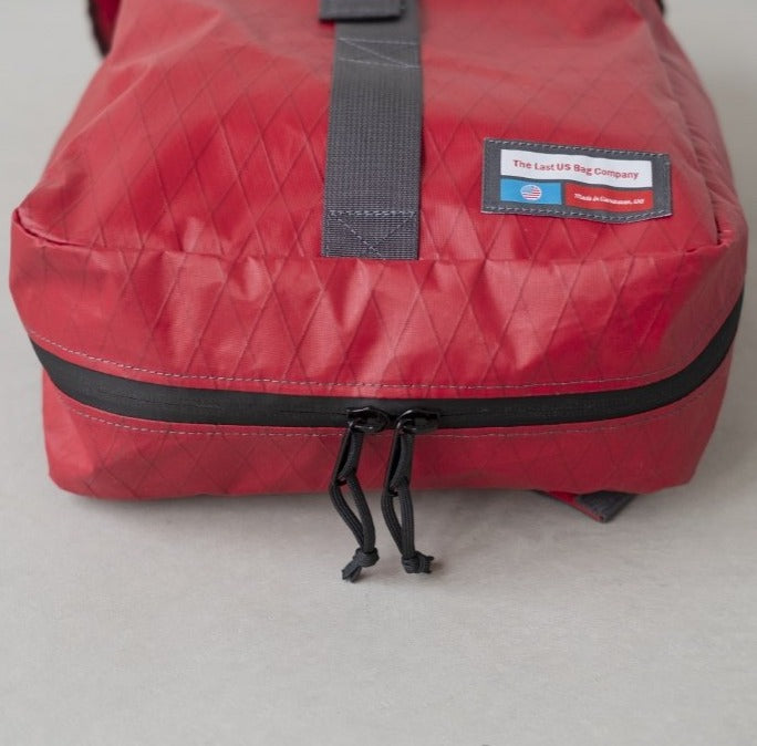 LUSB242 Red Rooftop Pannier bottom side with YKK Zippers