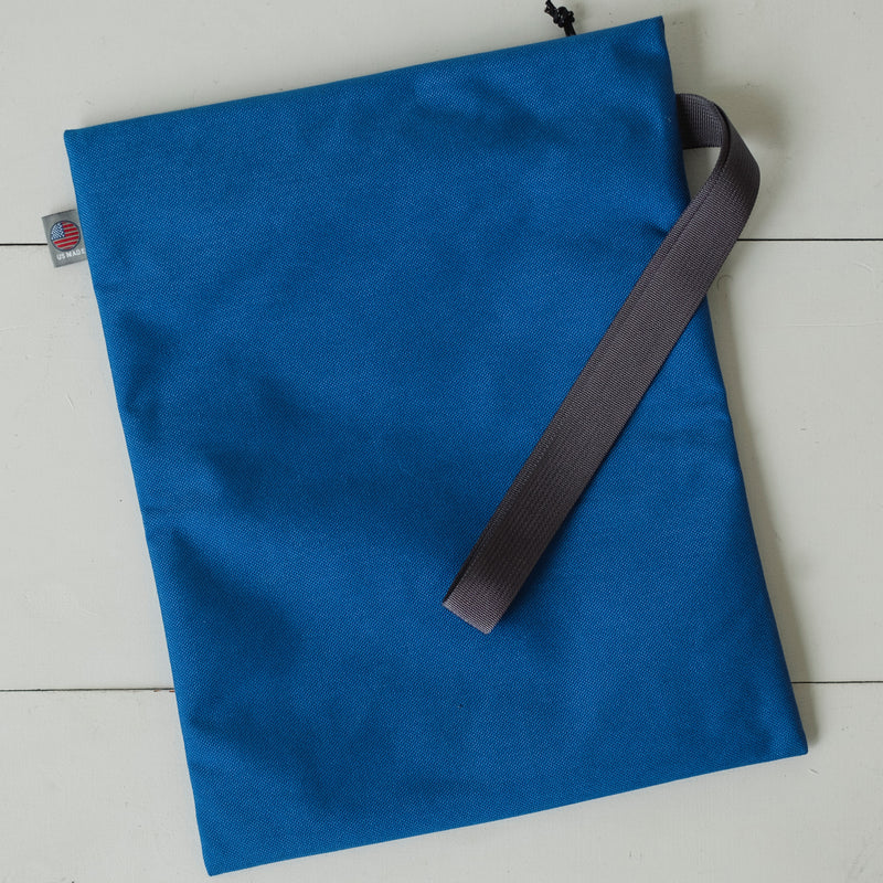 LUSB098 Blue Document Pouch with Hand Loop Back Side View