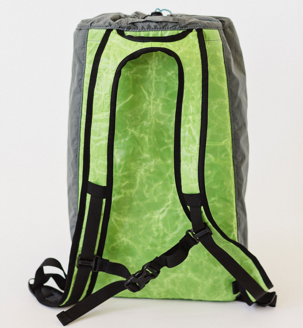 LUSB171 Ultralight Day Pack Lime/Grey Back Side View
