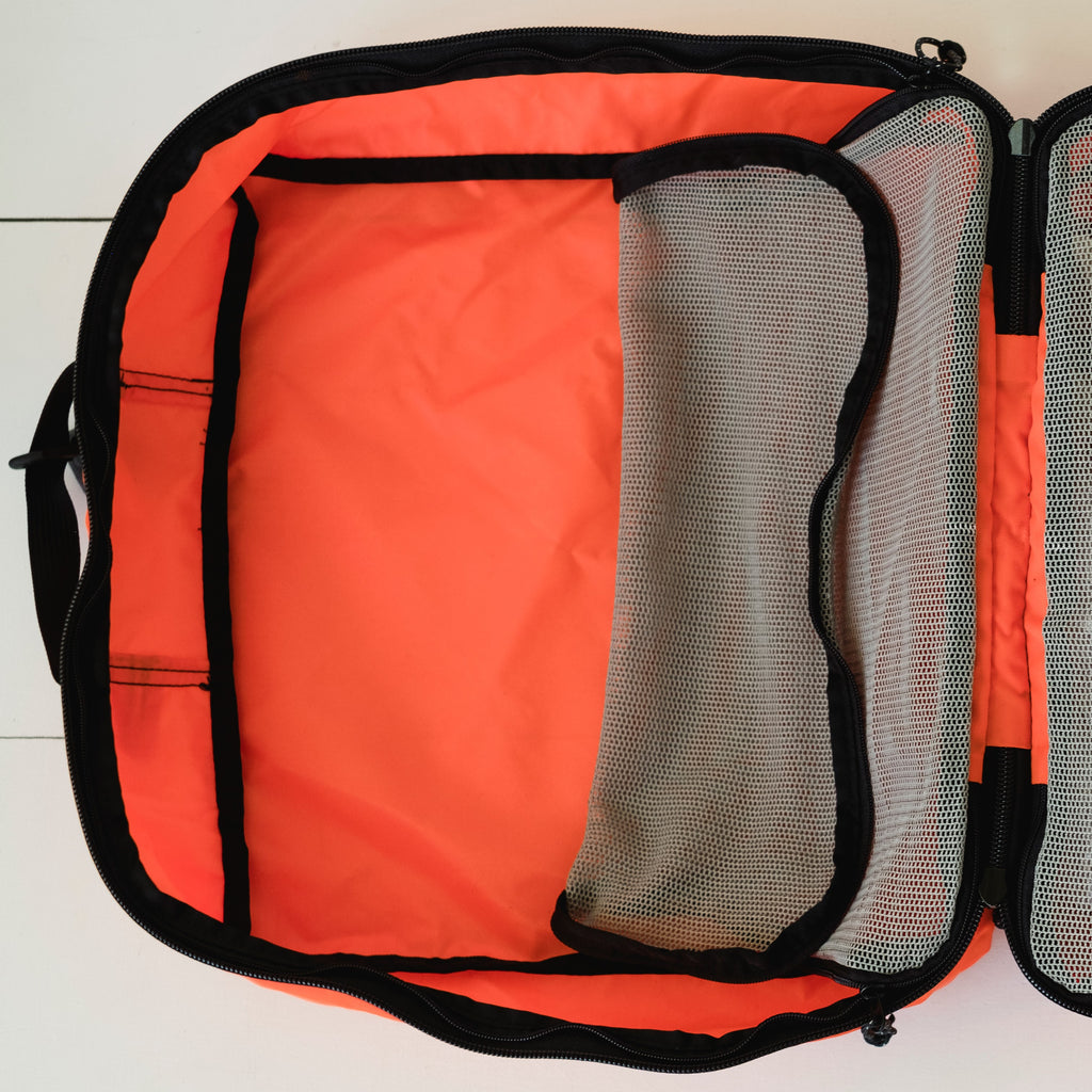 LUSB224 Orange Large Nylon Storage Cube Interior View