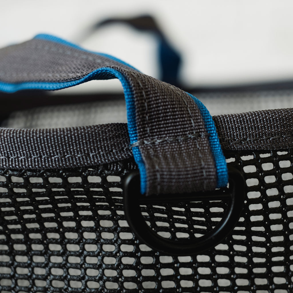 LUSB245/246 Black Mesh Bucket with Blue Webbing Strap with Black Metal D-ring