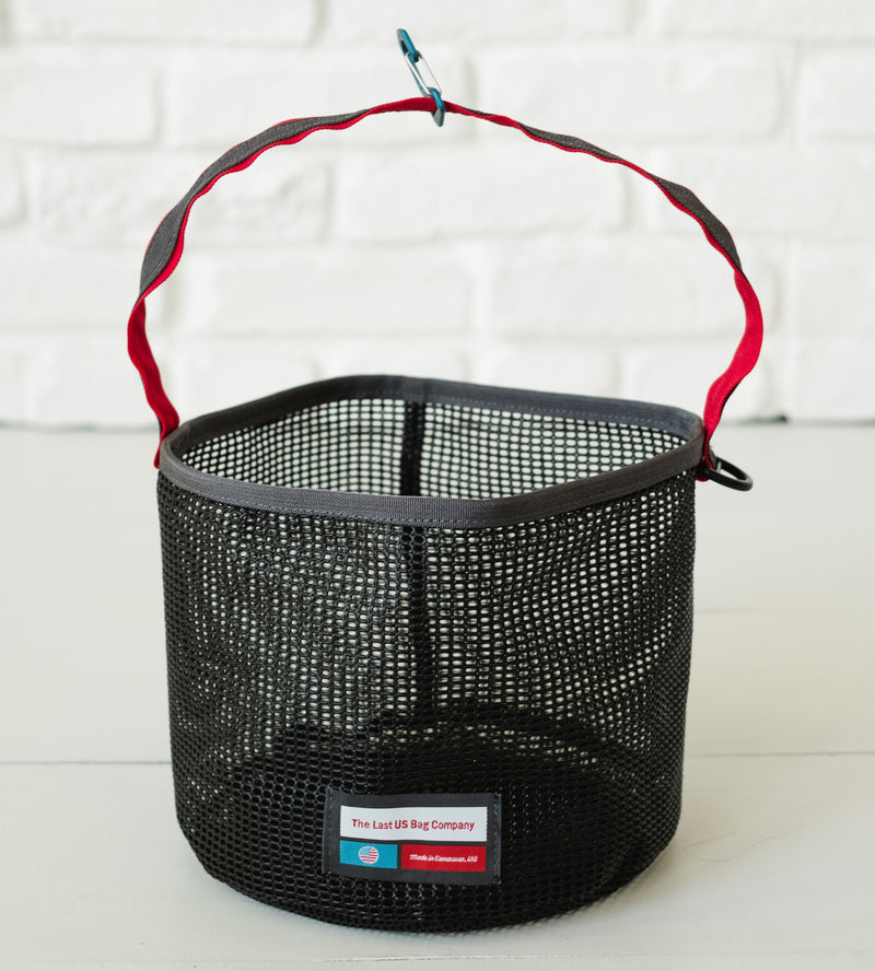 LUSB245/246 Black Mesh Bucket with Red Webbing Strap