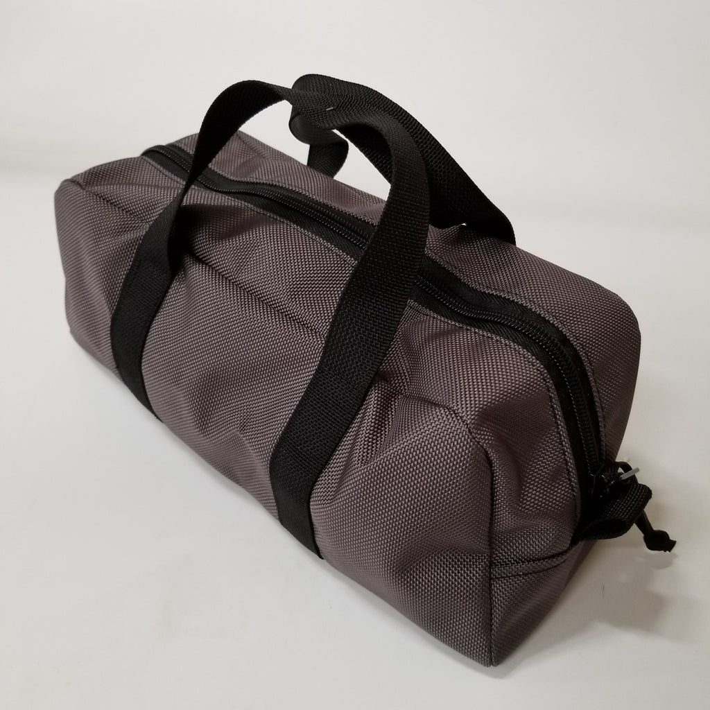 Grey Mini Duffle with Black Webbing Straps