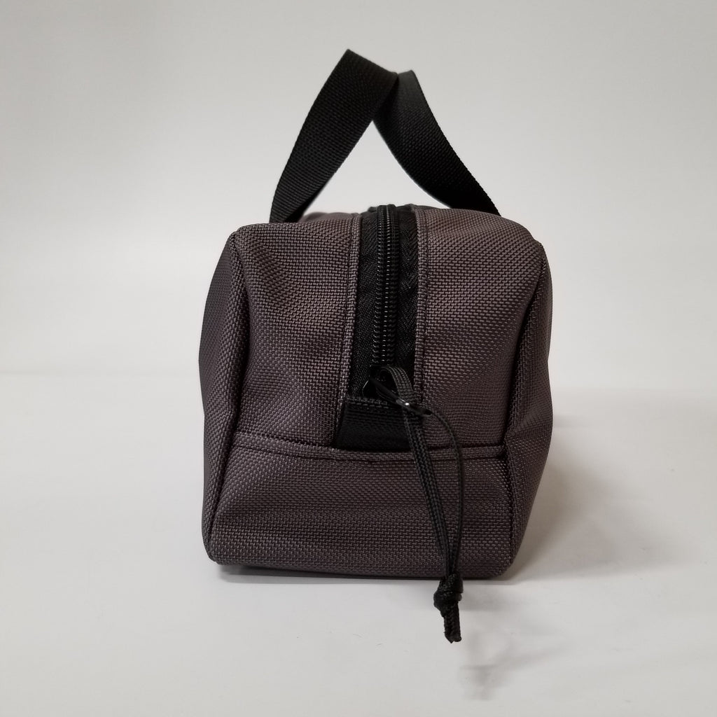 Grey Mini Duffle with Center Zipper Front View