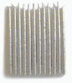 Silver Metallic with Gold Glitter birthday candles