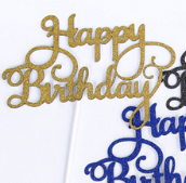 Happy Birthday Gold Cake Toppers