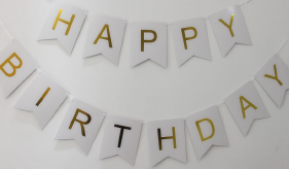 Happy Birthday Banner - White with Gold Letters
