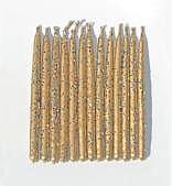 Gold Metallic birthday candles with Multicolor Glitter