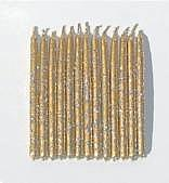 Gold Metallic birthday candles with Silver Glitter