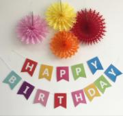 Happy Birthday Banner - Multicolor with Crepe Paper Flowers