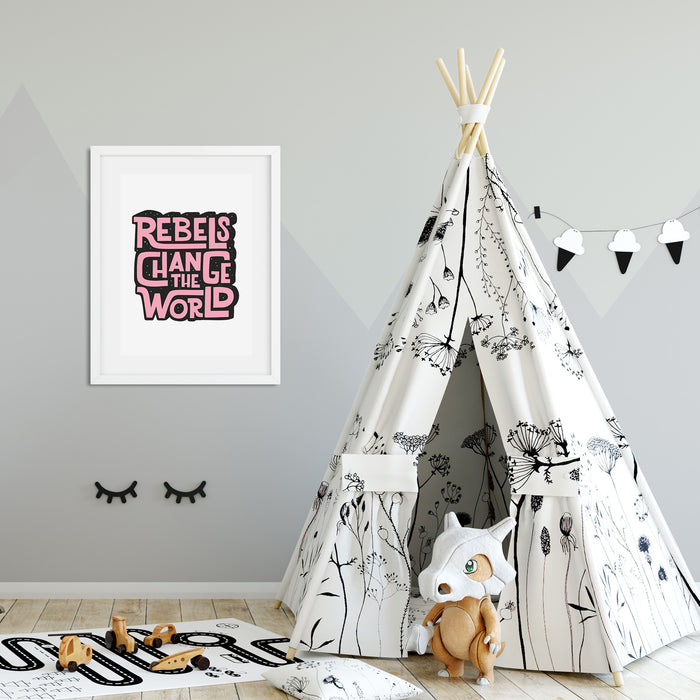Rebels Change the World Print Pink/Black