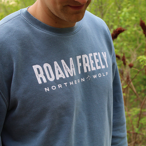 Roam Freely Crewneck - Slate Blue