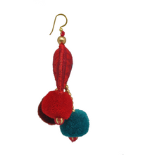 Half Moon Boho Teal Earrings with mini pom pom - MãeAzul