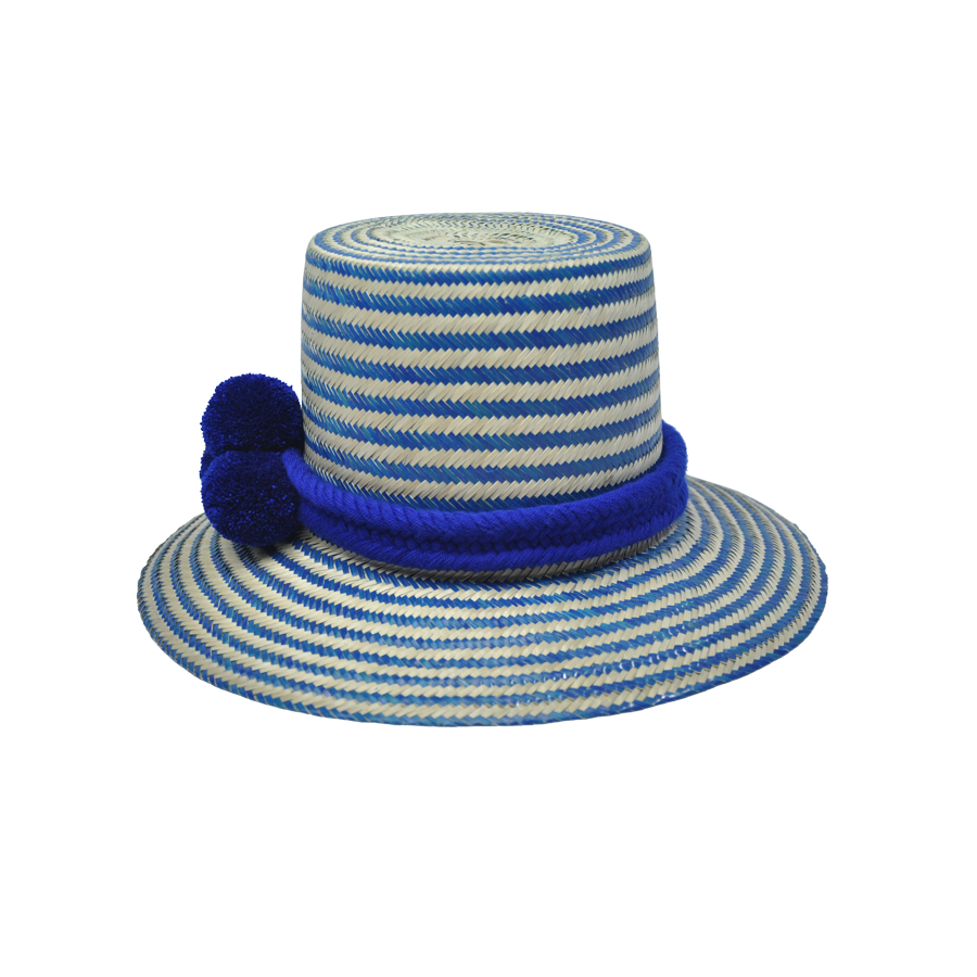 Cielo Stripes Straw Hat with pompoms hatband - MãeAzul